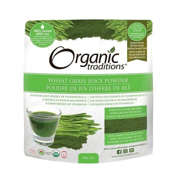 عشبة القمح Organic Traditions Organic Wheat Grass Juice Powder 150g